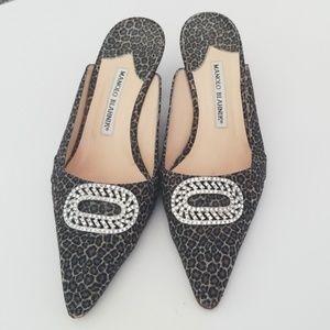 Leopard rhinestone Manolo Blahnik kitten heels